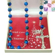 Colourful Rosaries with Initial Charm in Christmas Gift Box